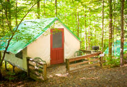 Cabin tent in the woods