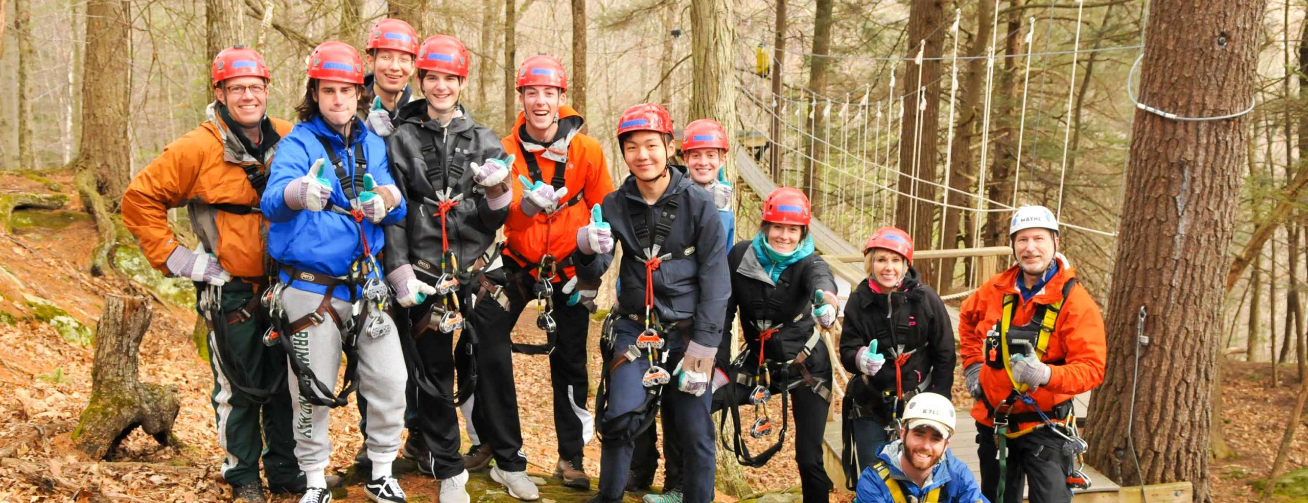 College group on a zip lining trip