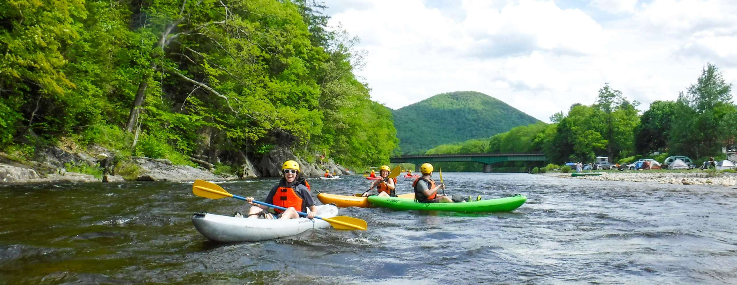 Group of kayakers on the river