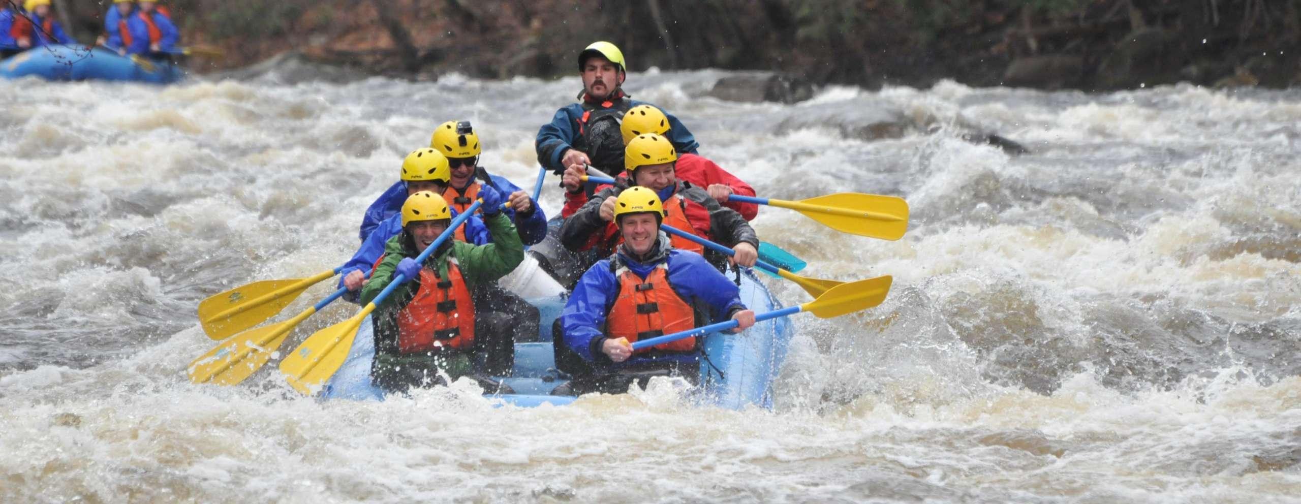 Group navigating rapids