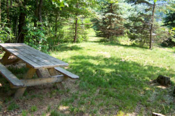 Picnic table out in a field