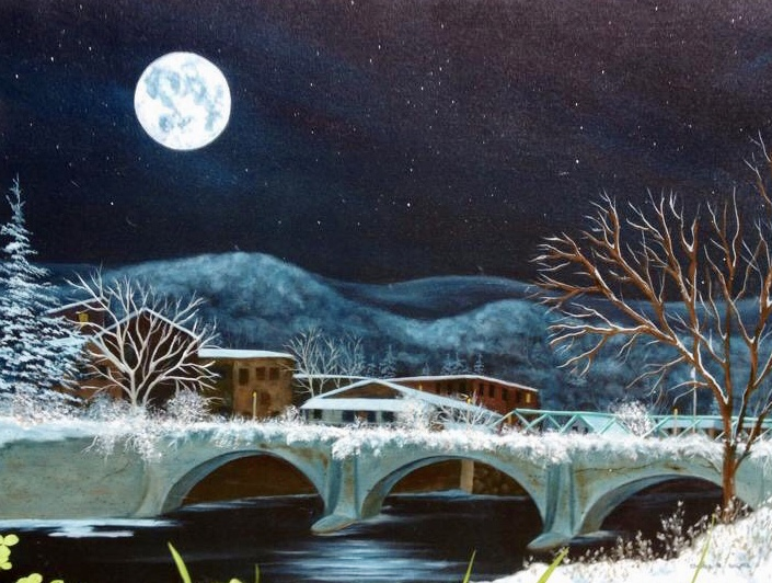 A painting of a bridge with snow at night