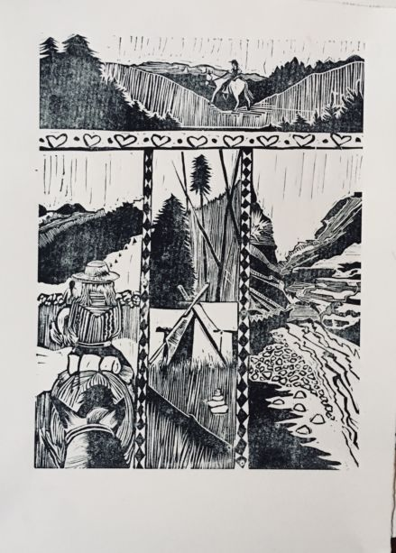 A black and white drawing of rapids and hills
