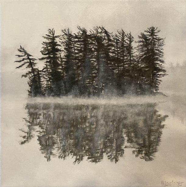 A painting of a group of trees in fog