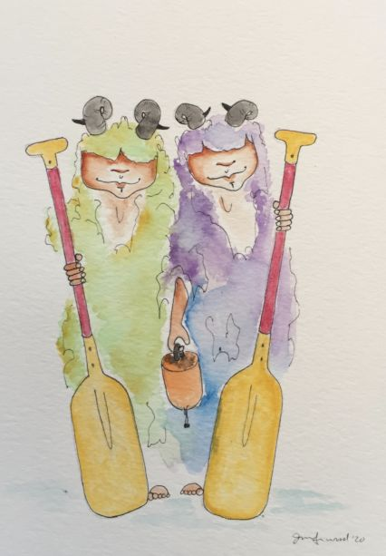 A drawing of a green and a purple monster with horns and oars.