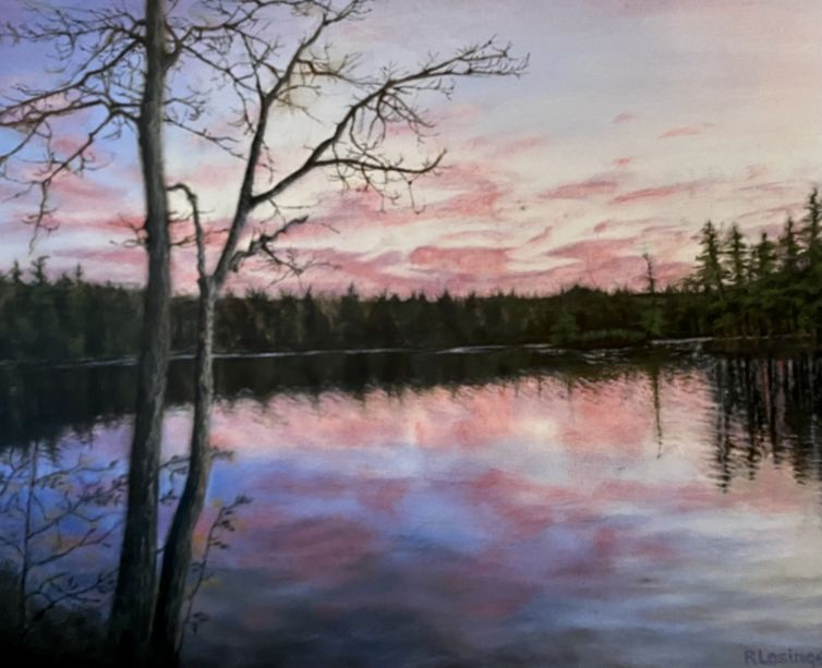 A painting of a lake with pink clouds above