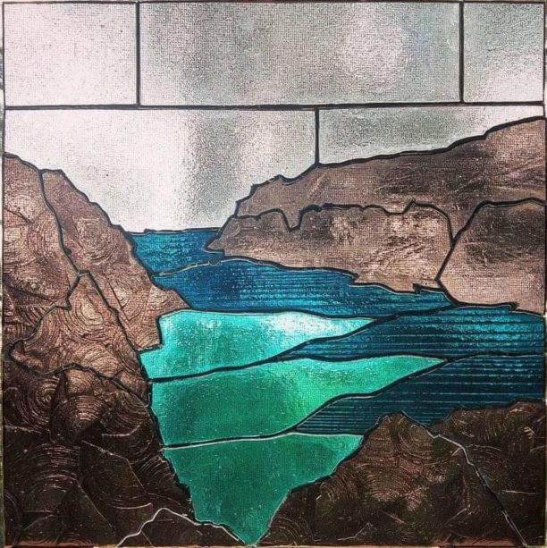 a river with rocks in stained glass