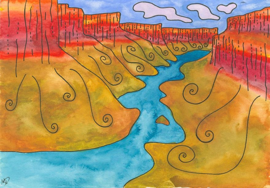A drawing of the grand canyon