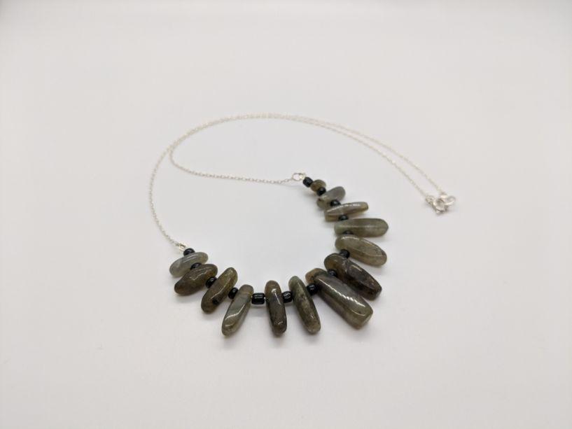 A necklace made of labradorite
