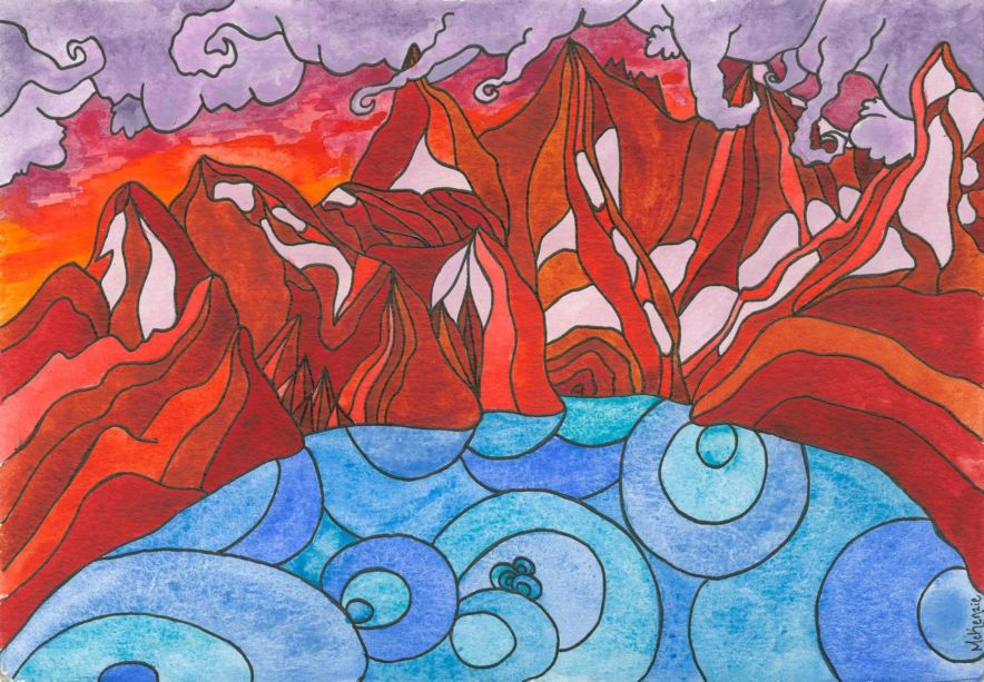 A drawing of a lake with red rocks surrounding it.