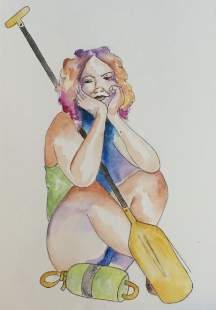 A woman with her hands on her cheeks and a rafting paddle.