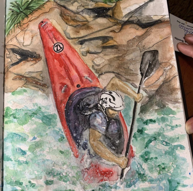 A drawing of a person in a Kayak