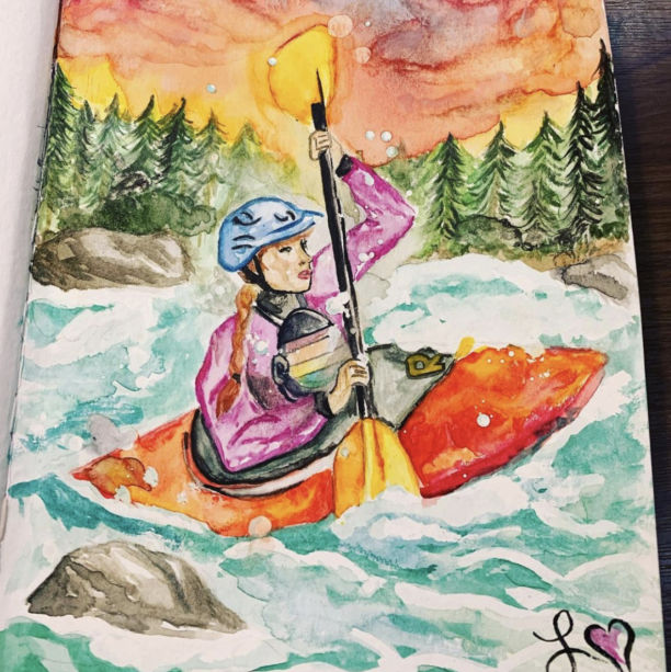 A drawing of a person in rapids in a kayak