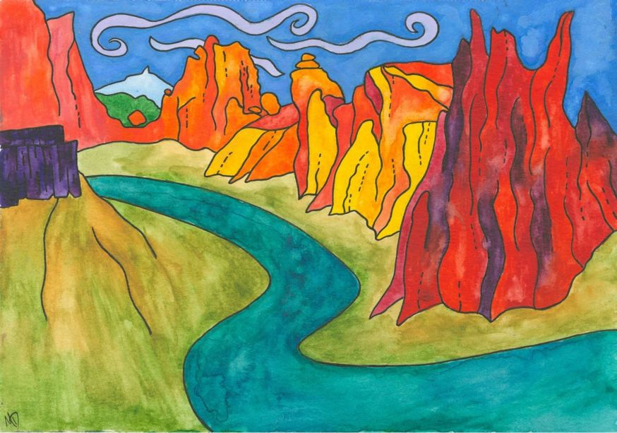 A colorful drawing of Smith Rock
