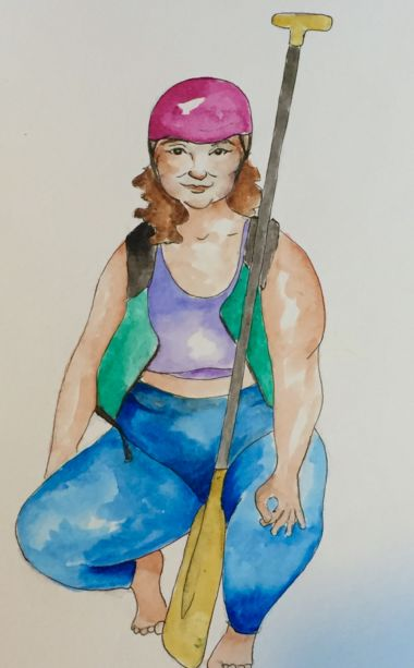 A woman with a green vest, helmet and rafting paddle.