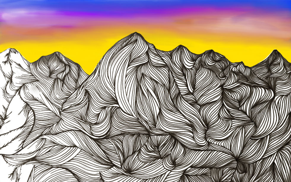 A drawing of a mountain with lines and a background of a sunrise