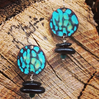 Earrings made with riverstone