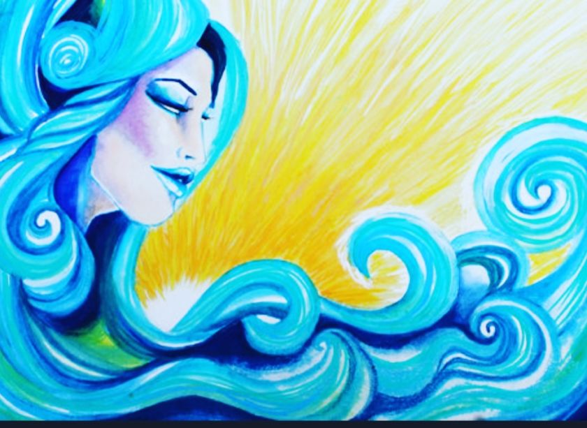 A blue goddess with waves of water as hair