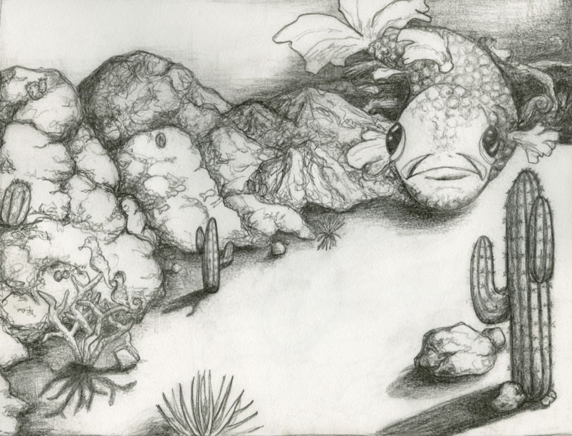 a black and white drawing with a fish and cactus